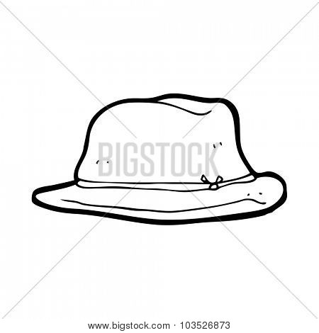 simple black and white line drawing cartoon  hat