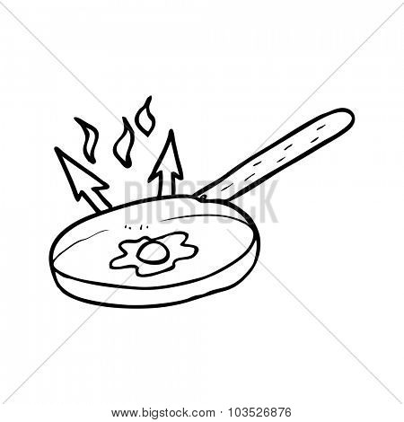 simple black and white line drawing cartoon  frying pan