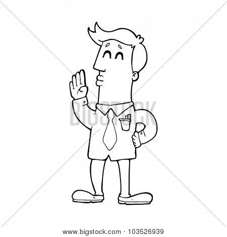 simple black and white line drawing cartoon  businessman