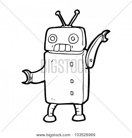 simple black and white line drawing cartoon  funny robot
