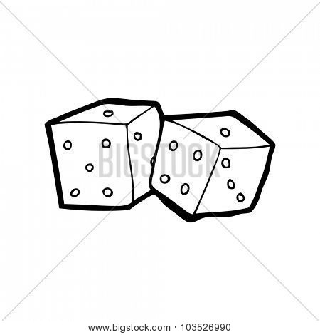 simple black and white line drawing cartoon  dice