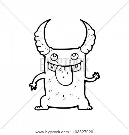 simple black and white line drawing cartoon  devil