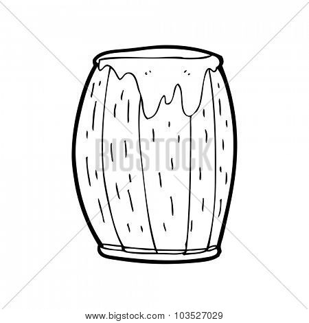 simple black and white line drawing cartoon  barrel