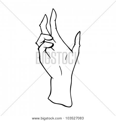 simple black and white line drawing cartoon  hand