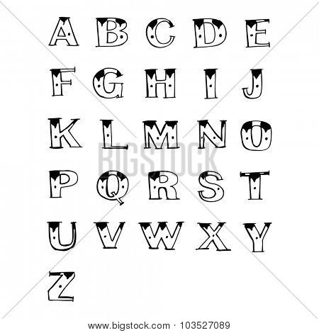 simple black and white line drawing cartoon  old tattoo letters