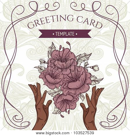 Greeting card template with women's hands and bouquet of flowers on floral background. Vintage hand