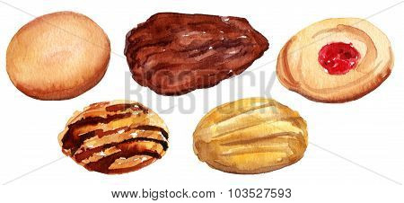 A watercolour drawing of traditional tea cookies, isolated