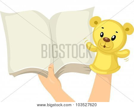 Illustration of a Hand Holding a Sock Puppet While Reading a Book