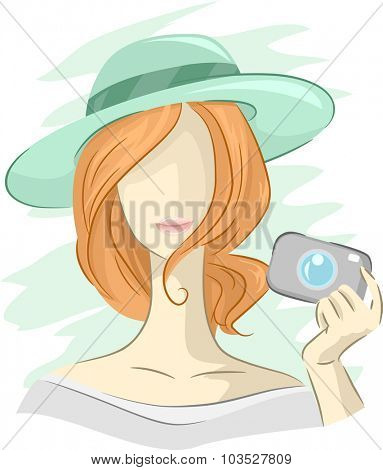 Illustration of the Outline of a Girl Holding a Digital Camera