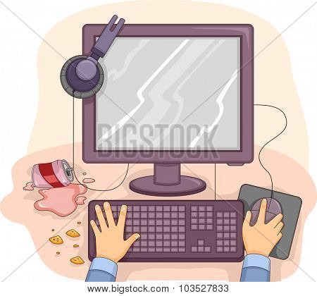 Illustration of a Messy Computer Table with Scraps of Food Lying Around