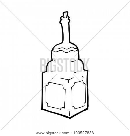 simple black and white line drawing cartoon  old whisky bottle
