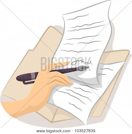 Cropped Illustration of a Hand Signing a Contract