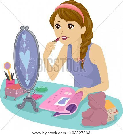 Illustration of a Teenage Girl Using a Magazine to Learn How to Apply Lipstick