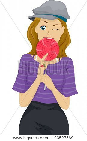 Illustration of a Teenage Girl Biting Her Lollipop
