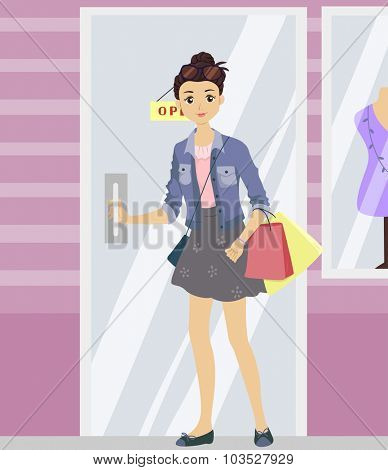 Illustration of a Teenage Girl Opening the Door of a Boutique