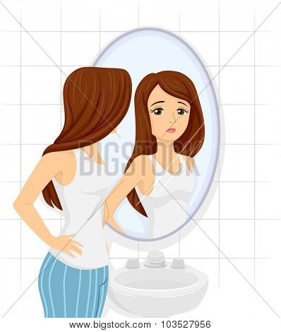 Illustration of a Teenage Girl Checking Her Figure on the Mirror