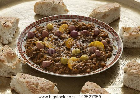 Dish with traditional moroccan kercha and bread for Eid al-Adha