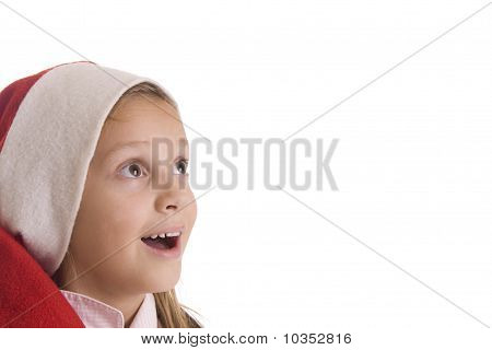child in a red cap on a white background