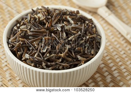 Bowl with cooked black wild rice
