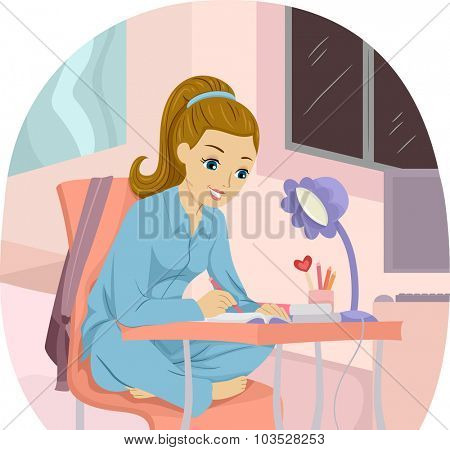 Illustration of a Girl Writing Notes While Studying