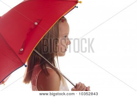 child with red umbrella on white background