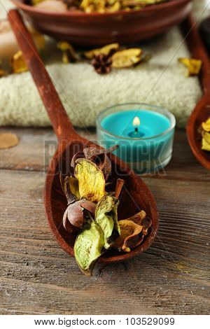 Beautiful spa composition with dry flowers on table close up