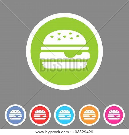 Hamburger burger icon flat web sign symbol logo label