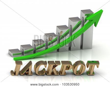 Jackpot- Inscription Of Gold Letters And Graphic Growth