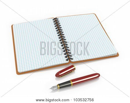 Notepad And Ink Pen On A White Background.