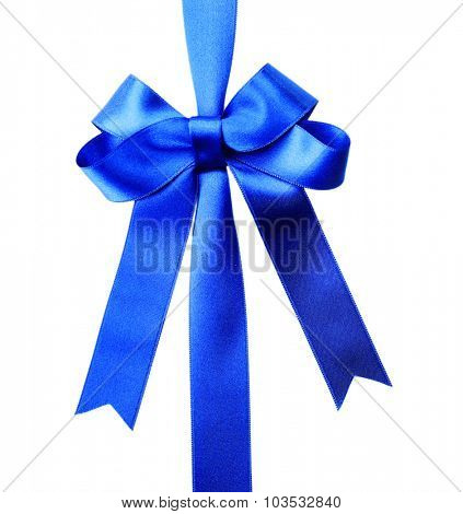 Dark blue ribbon bow isolated on white
