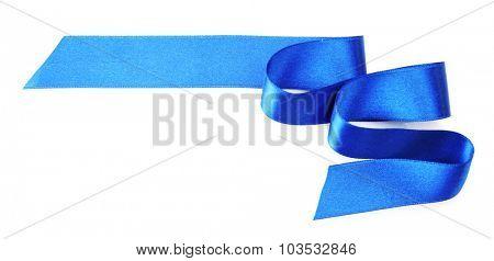Dark blue satin ribbon isolated on white
