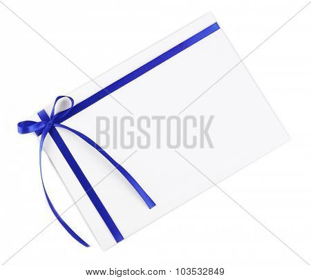 Card decorated with bow isolated on white