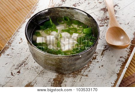 Japanese Miso Soup On Wooden Table.