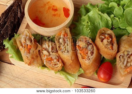 Fried Spring Rolls Traditional For Appetizer Food.