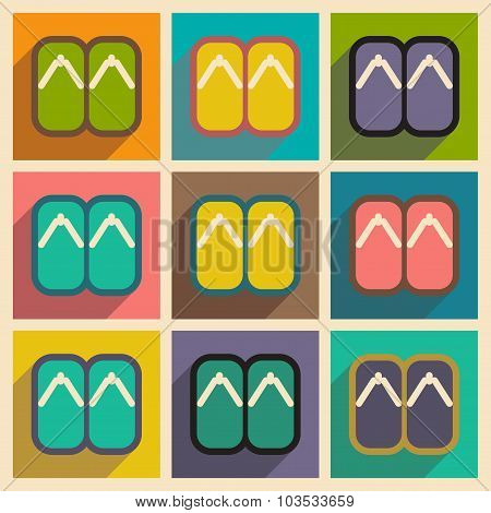 Collection icons of Japanese slippers