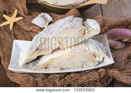 Uncooked Salted Cod On Fishing Nets