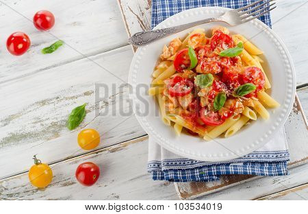 Penne Pasta With Chicken,bolognese Sauce, Parmesan And Basil.
