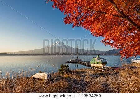 Mount Fuji View From Lake Kawaguchiko In Autumn Color