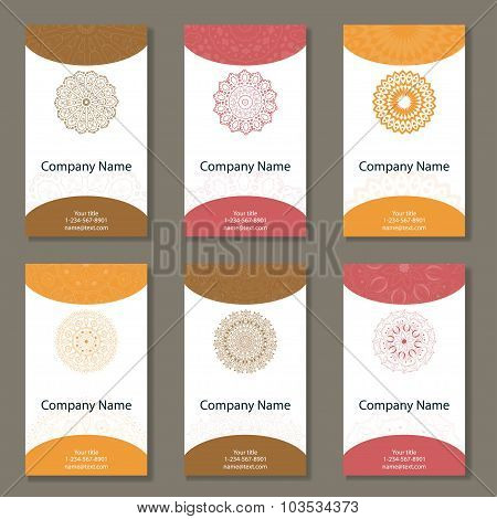 Set Of Six Business Cards. Vintage Pattern In Retro Style With Mandala. Hand Drawn Islam, Arabic, In