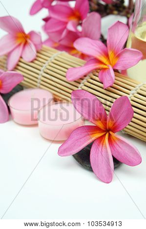 Tropical spa setting with Pink Plumeria flowers on white background