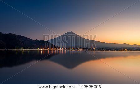 Reflection Of Mountain Fuji And Lake Kawaguchi At Sunset