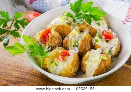 Hot Baked Potatoes With Vegetables And Sour Cream.
