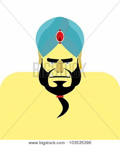 Angry Sheikh Turban.  Emir With Beard. Blue Turban Is Decorated With Precious Stones