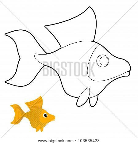 Goldfish Coloring Book. Fantastic Yellow Fish. Vector Illustration