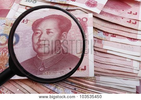 Looking Close At A Chinese 100 Rmb Banknote.