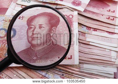 Looking Close At A Chinese 100 Rmb Banknote.