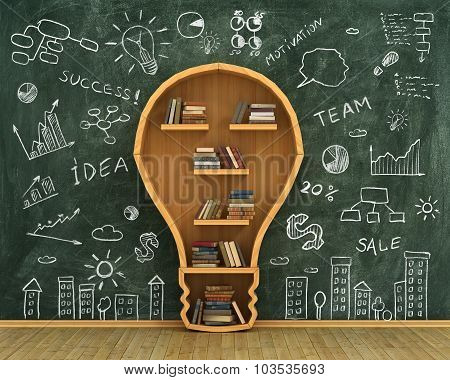 Concept Of Idea. Bookshelf Full Of Book In Form Of Bulb With Concept Drawing On Whiteboard.