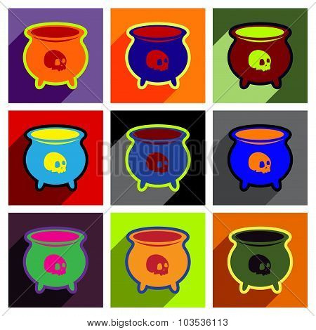 Flat with shadow concept icon cauldron on a bright background