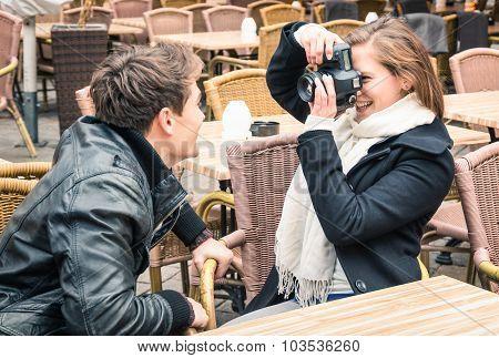 Girlfriend Take A Photo Of The Boyfriend - Happy Couple Outdoors