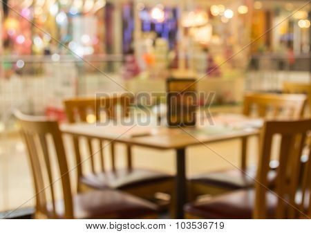 Abstract Blur Background Of Restaurant In The Shopping Mall